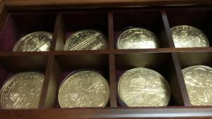 チョコレートの金貨です。